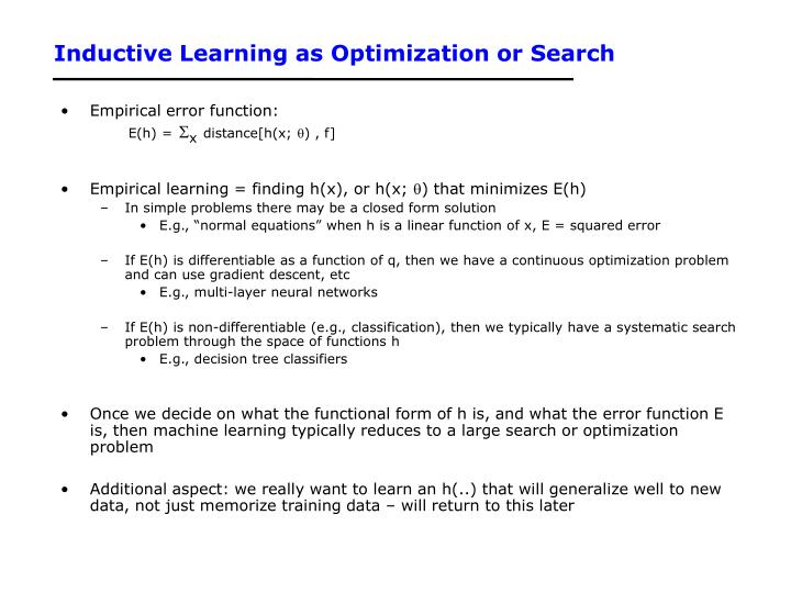 Inductive Learning as Optimization or Search