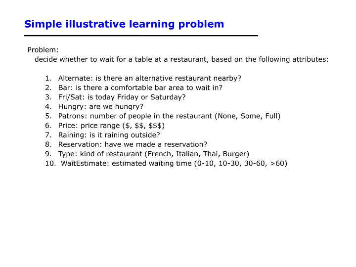 Simple illustrative learning problem