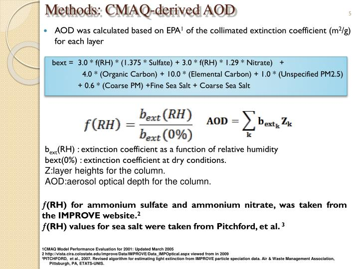 Methods: CMAQ-derived AOD