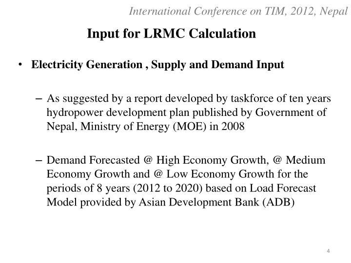 Input for LRMC Calculation
