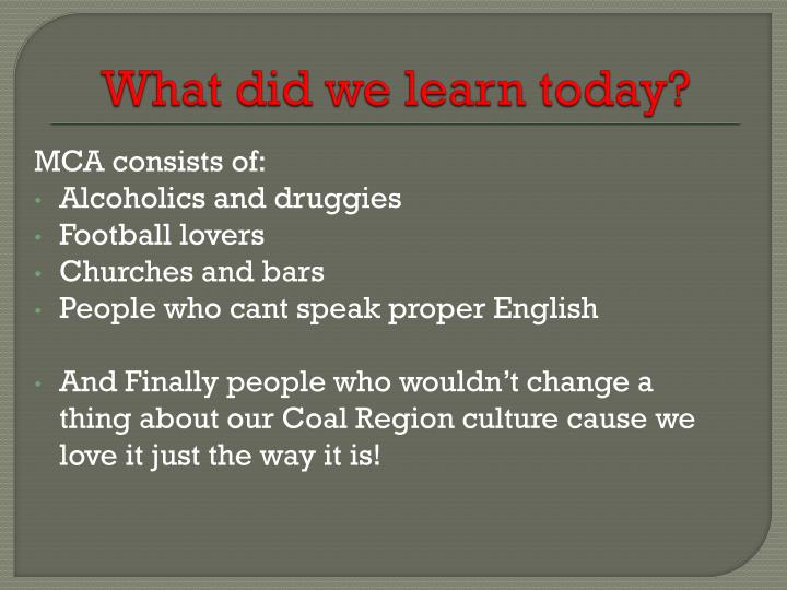 What did we learn today?