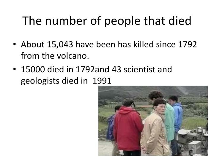 The number of people that died