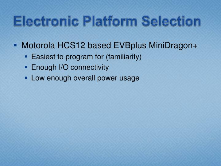 Electronic Platform Selection