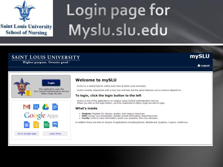 Login page for