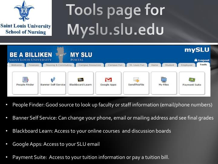 Tools page for