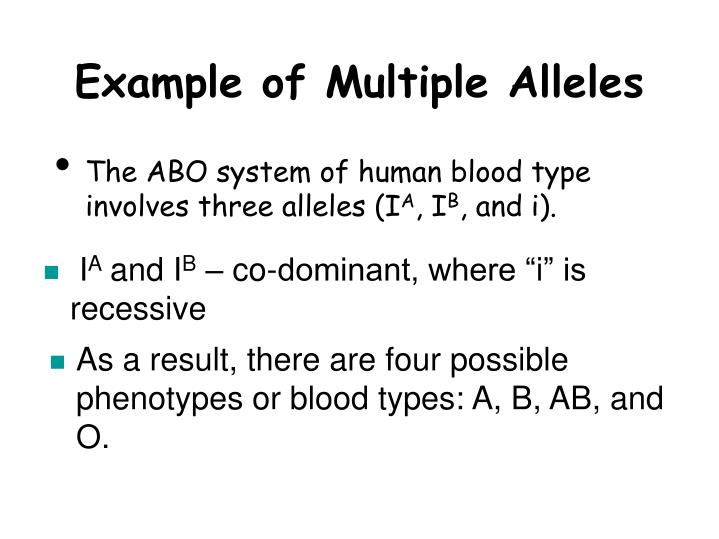 Example of Multiple Alleles