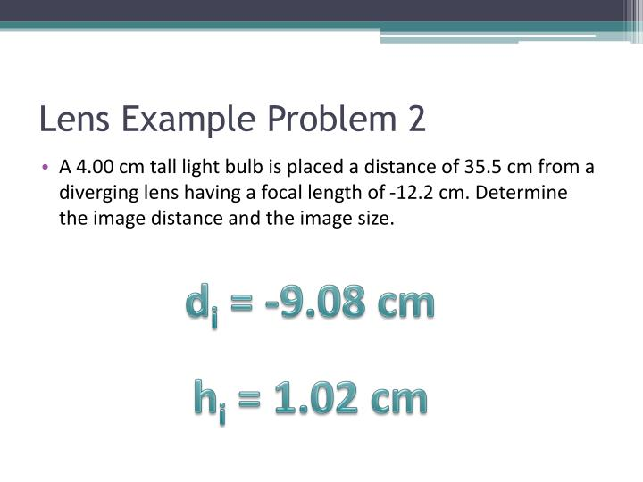 Lens Example Problem 2