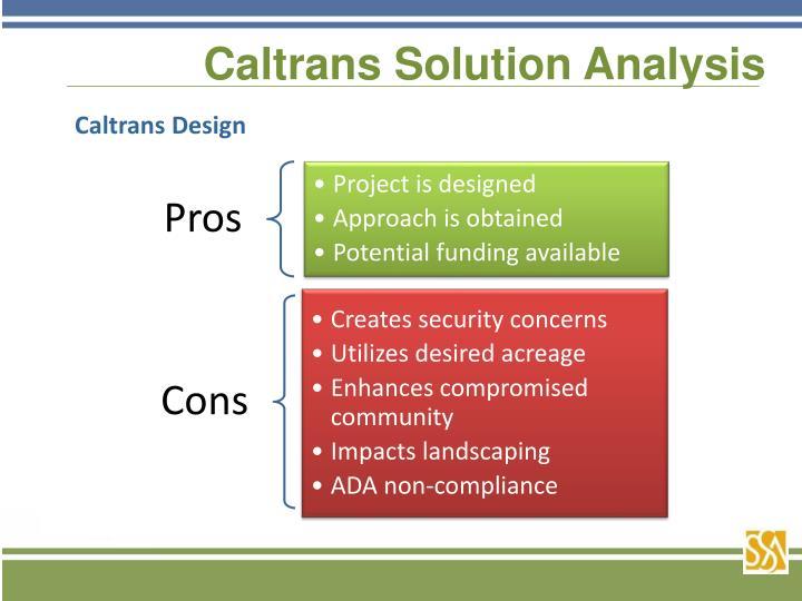 Caltrans Solution Analysis