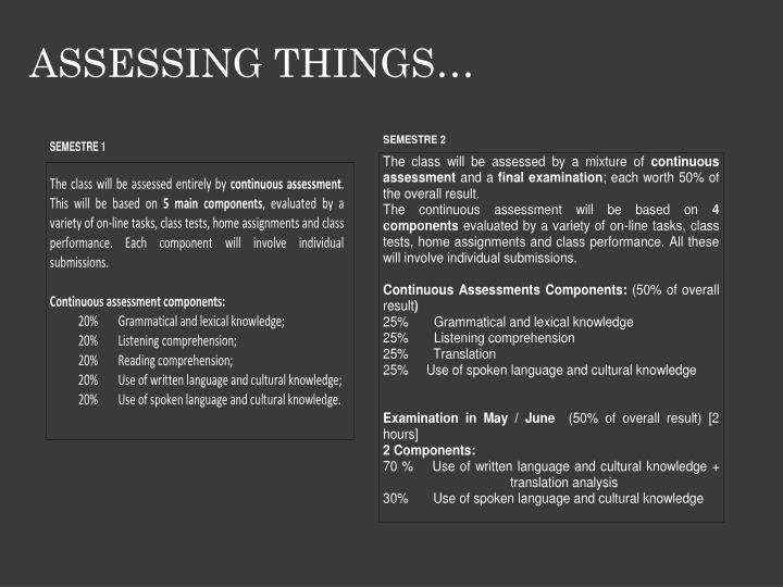 ASSESSING THINGS…