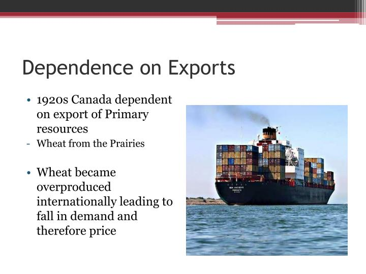 Dependence on Exports