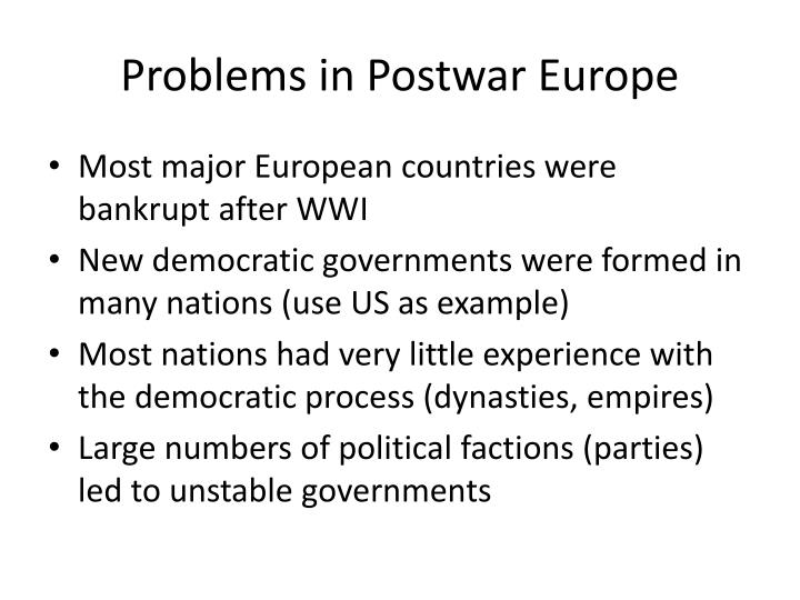 Problems in postwar europe