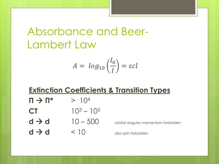 Absorbance and Beer-Lambert Law