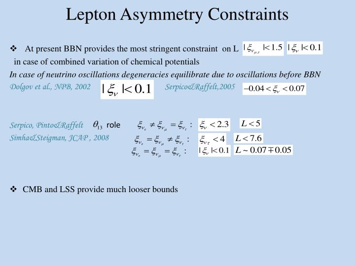 Lepton Asymmetry Constraints