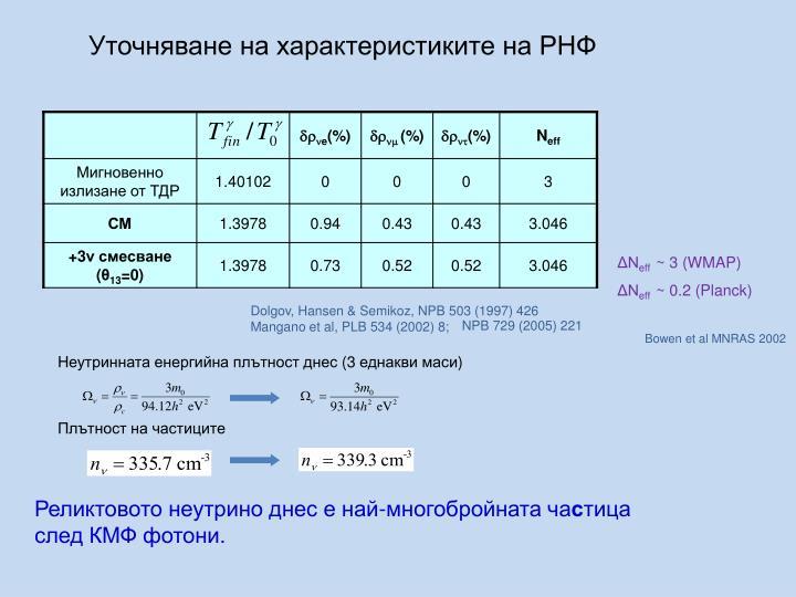 Уточняване на характеристиките на РНФ