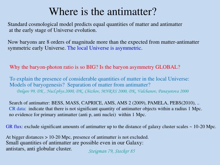 Where is the antimatter?