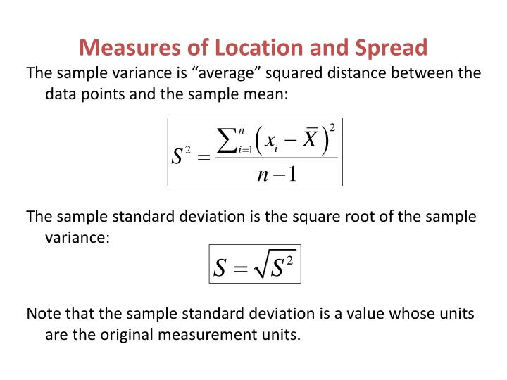"""The sample variance is """"average"""" squared distance between the data points and the sample mean:"""