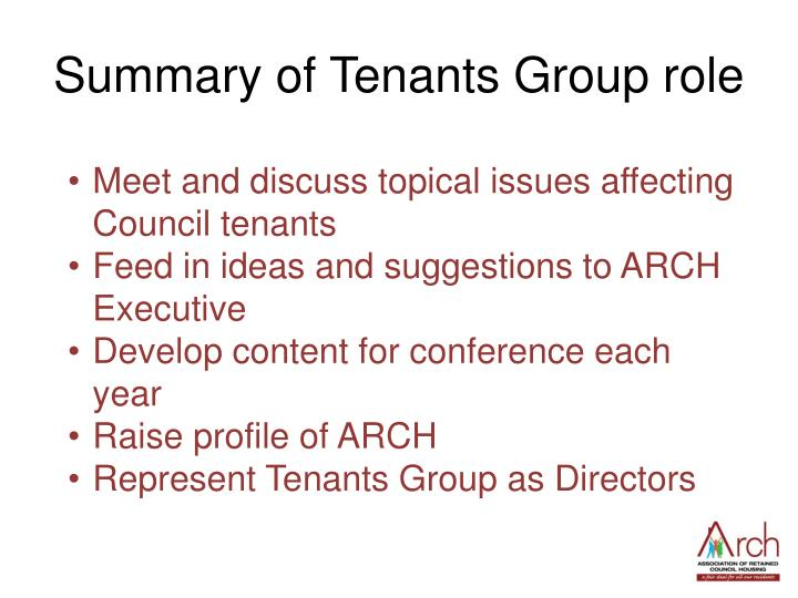 Summary of Tenants Group role
