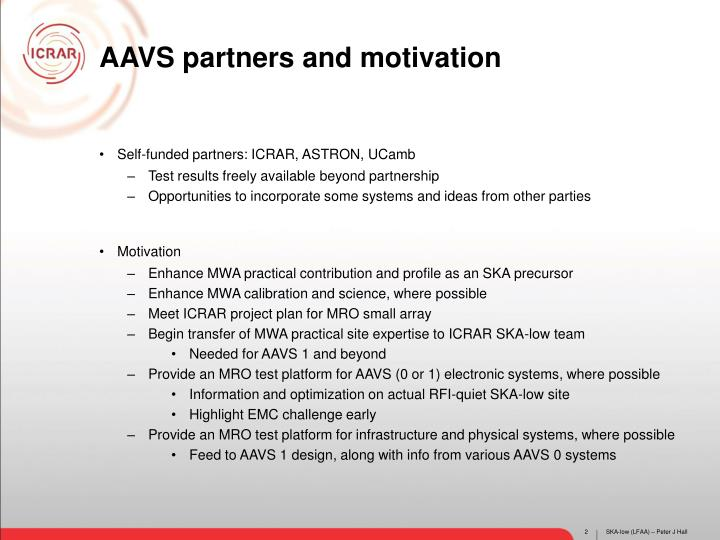 AAVS partners and motivation