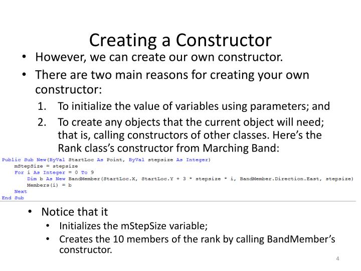 Creating a Constructor