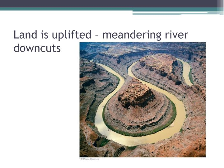 Land is uplifted – meandering river