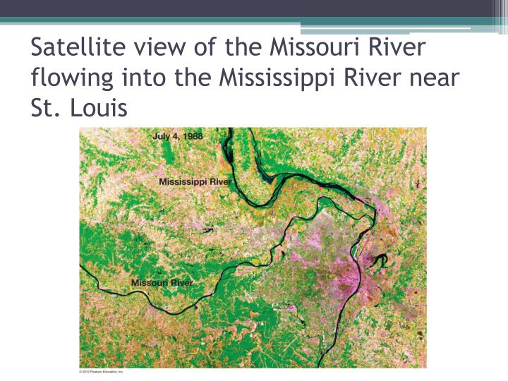 Satellite view of the Missouri River flowing into the Mississippi River near St. Louis