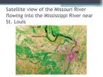 satellite view of the missouri river flowing into the mississippi river near st louis