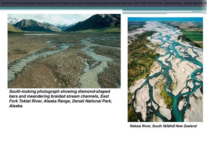 South-looking photograph showing diamond-shaped bars and meandering braided stream channels, East Fork Toklat River, Alaska Range, Denali National Park, Alaska.