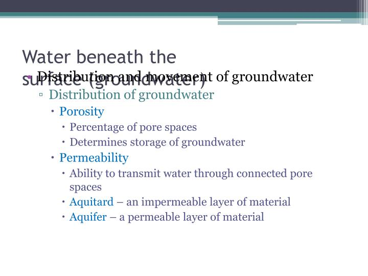 Water beneath the