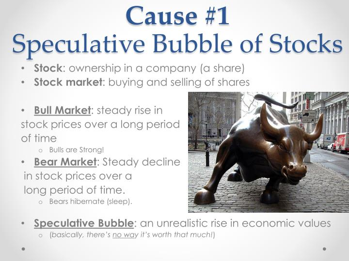 Cause 1 speculative bubble of stocks