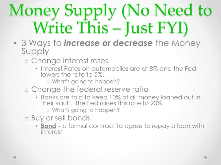 Money Supply (No Need to Write This – Just