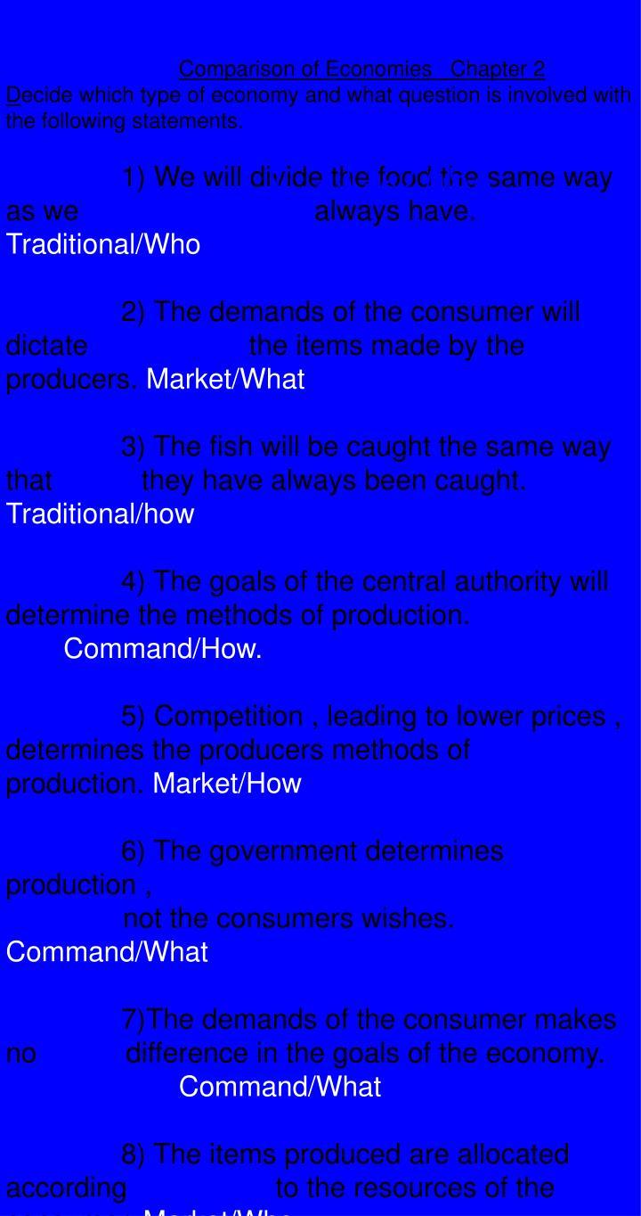 Comparison of Economies   Chapter 2
