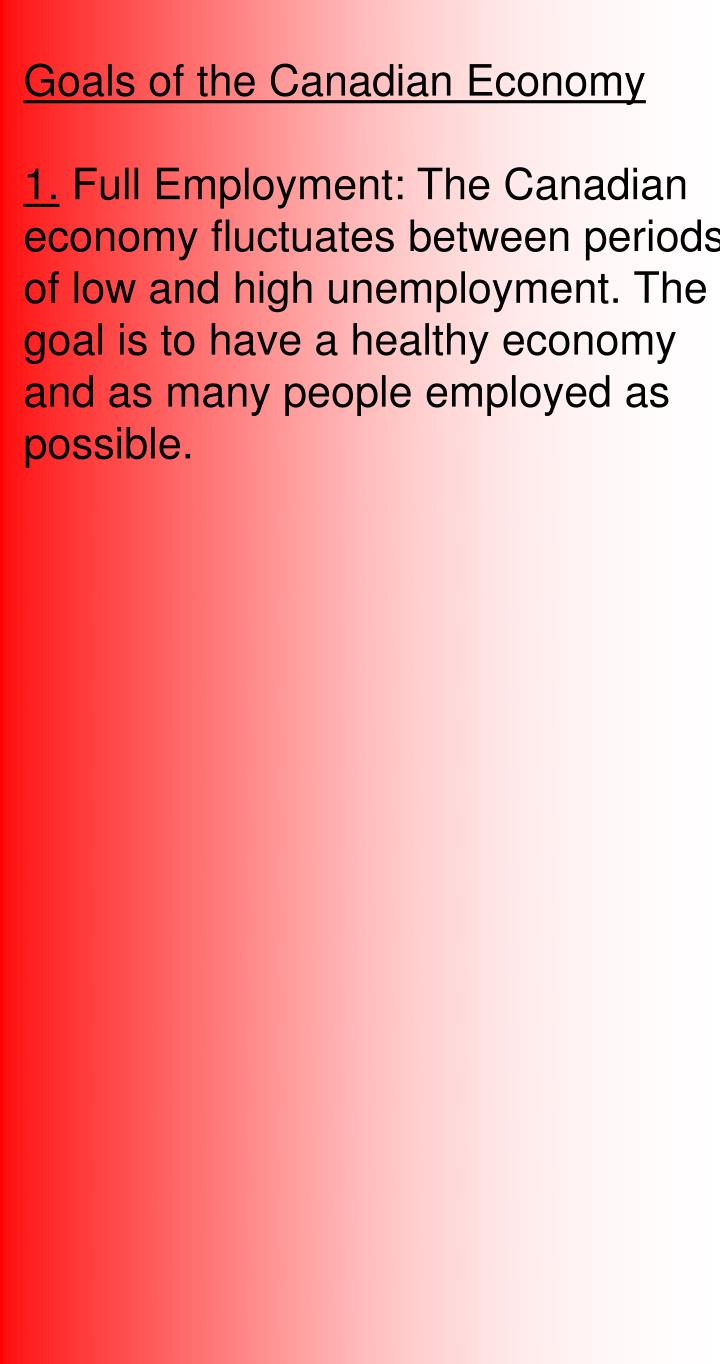 Goals of the Canadian Economy