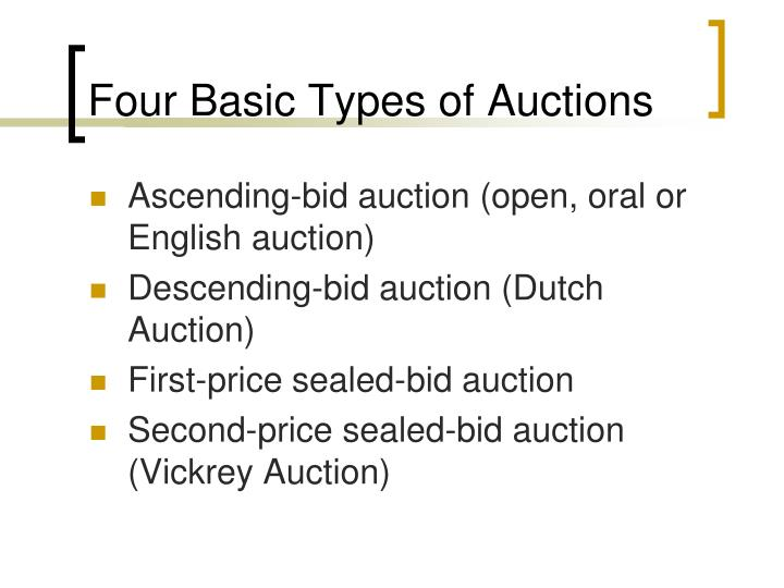 Four Basic Types of Auctions
