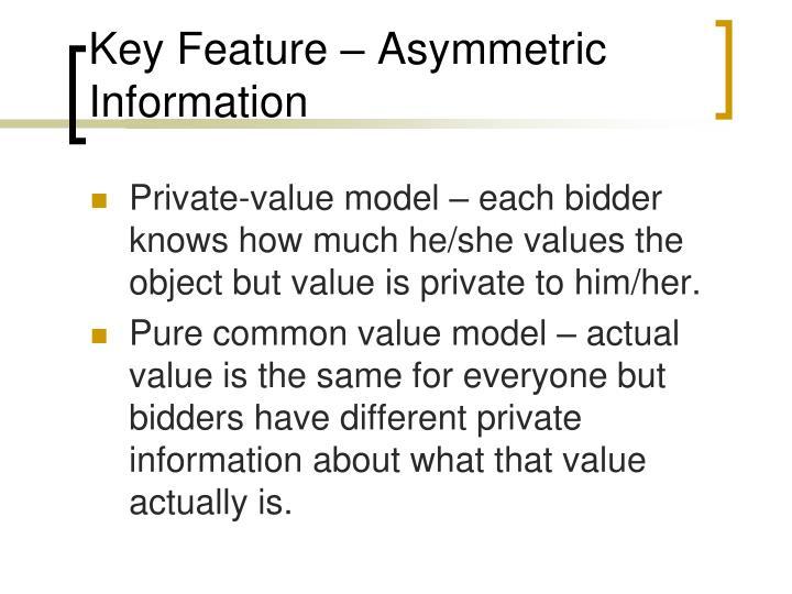 Key Feature – Asymmetric Information