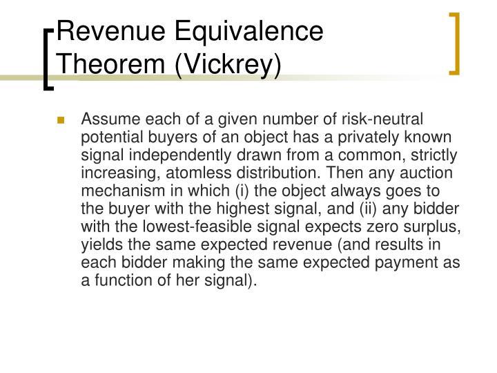 Revenue Equivalence Theorem (Vickrey)