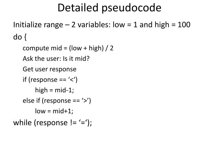 Detailed pseudocode