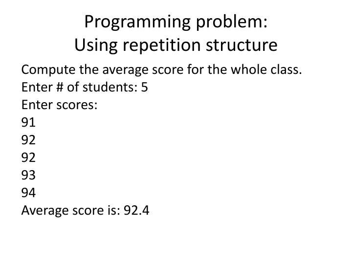 Programming problem: