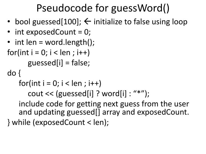 Pseudocode for guessWord()