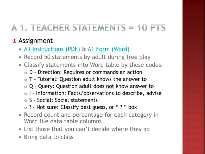 A 1. Teacher Statements = 10 pts