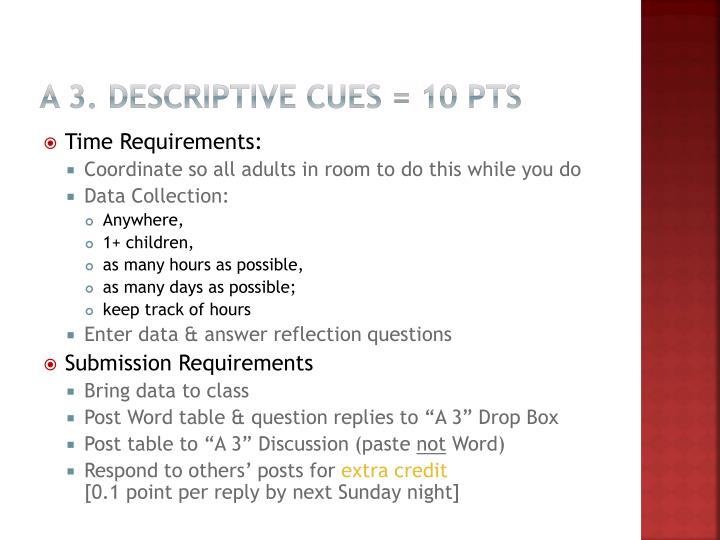 A 3. Descriptive Cues = 10 pts