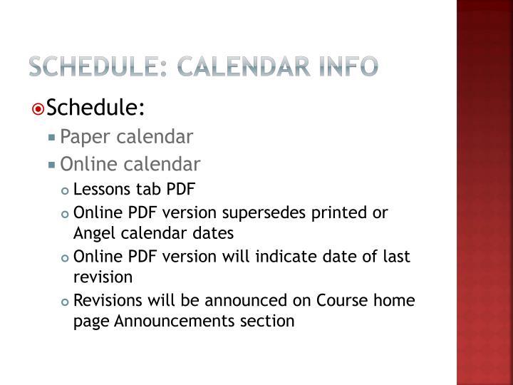 Schedule: Calendar info