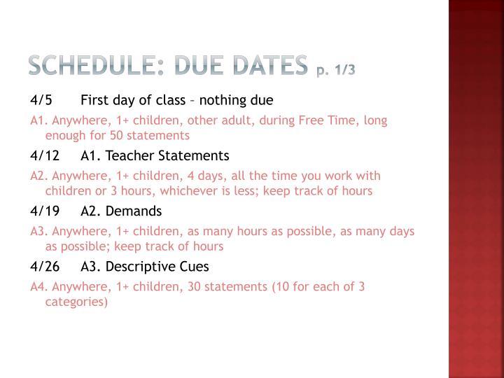 Schedule: Due dates