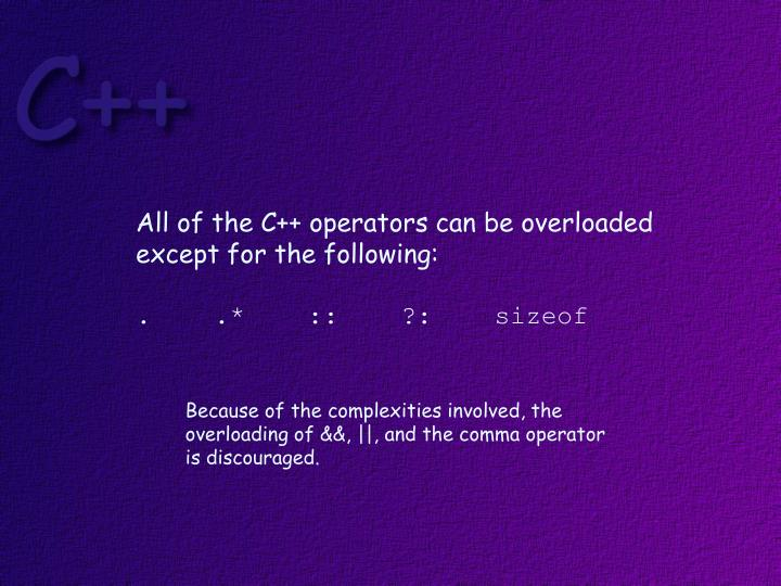 All of the C++ operators can be overloaded