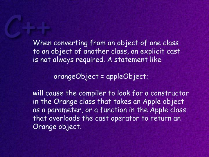 When converting from an object of one class