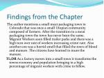 findings from the chapter