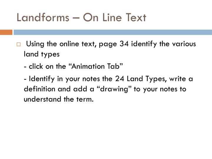 Landforms – On Line Text
