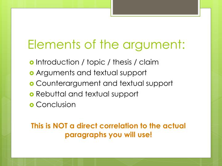 Elements of the argument: