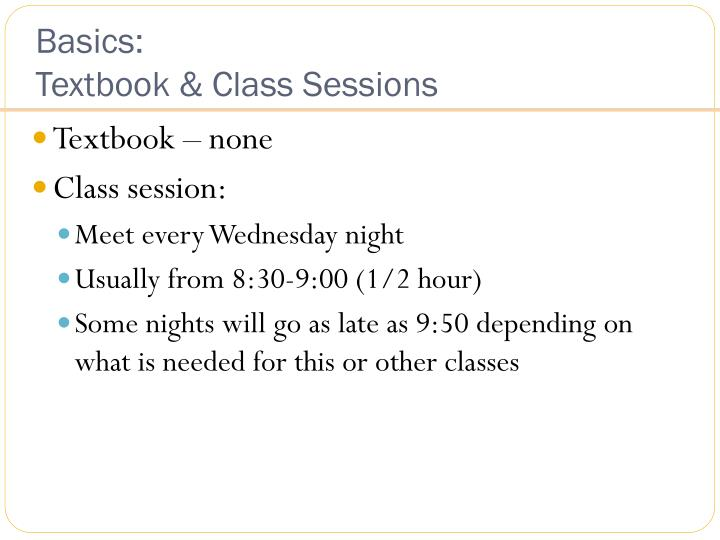 Basics textbook class sessions
