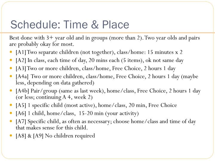 Schedule: Time & Place