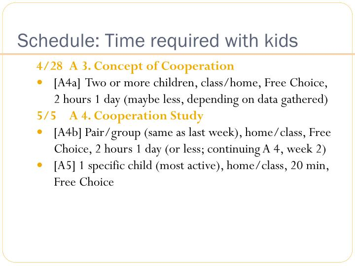 Schedule: Time required with kids